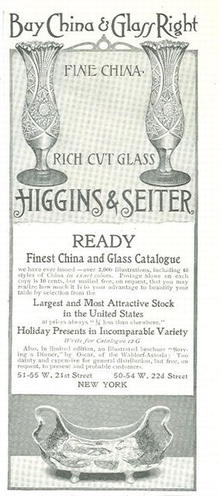 Higgins & Seiter Fine Glass and China 1901 Magazine Advertisement