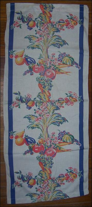 Vintage Printed Runner with Fruit and Vegetable Design with Blue Border