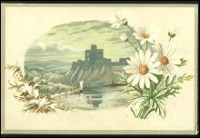 Victorian Trade Card For Lion Coffee with Castle Surrounded by Daises