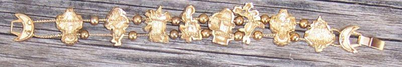 Christmas Bracelet, Enameled Charms on Gold Tone Chain with Gold Beads