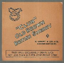 Vintage Label for Club Old Brown Sherry, B. Grant and Co. , Burton-on-Trent