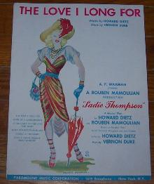 Love I Long For From From Sadie Thompson A Musical Play 1944 Sheet Music