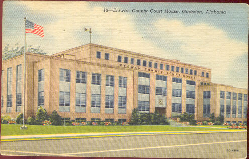 Etowah County Court House, Gadsen, Alabama 1958 Postcard