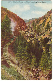 Stepladder on Pike's Peak Cog Road, Colorado Postcard