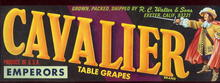 Cavalier Table Grapes Fruit Crate Label