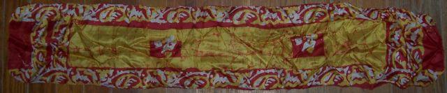 Vintage Long Scarf Red and Yellow Abstract Swirl Design