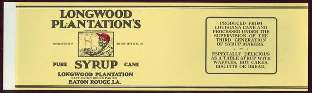 Longwood Plantation's Syrup Can Label