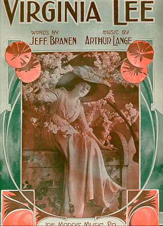 Virginia Lee 1915 Sheet Music E H Pfeiffer Cover
