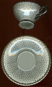 RW Bavaria Silver Crackle Design Demi Cup and Saucer