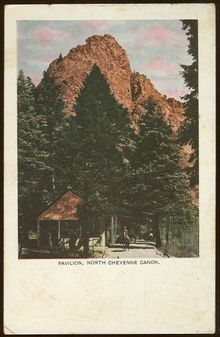Pavilion, North Cheyenne Canon, Colorado Springs 1910 Postcard