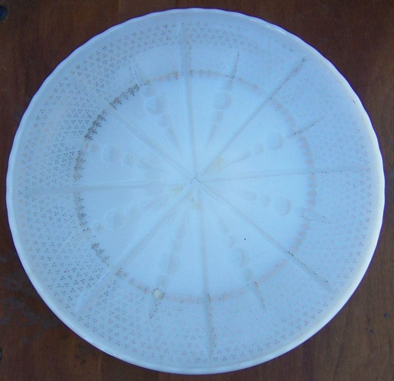 Anchor Hocking Milk Gass Pedestal Cake Plate With Gold Fluer de Lis Design