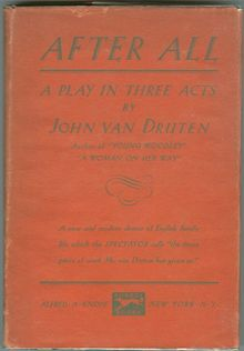 After All, A Play by John Van Druten 1931 1st ed DJ