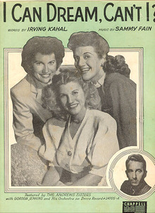 I Can Dream Can't I Sung by The Andrews Sisters 1937 Sheet Music