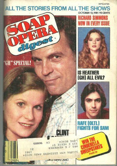 Soap Opera Digest Magazine October 13, 1981  Candi Earley and Clint Ritchie