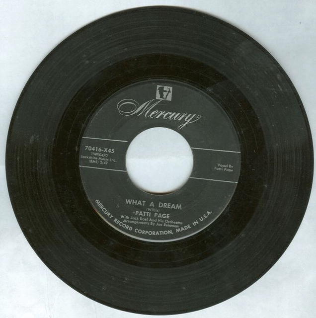 Patti Page What a Dream/ I Cried 45RPM Record