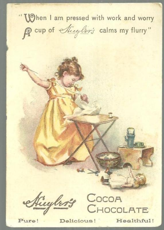 Victorian Trade Card for Huyler's Cocoa Chocolate with Little Girl Doing Chores
