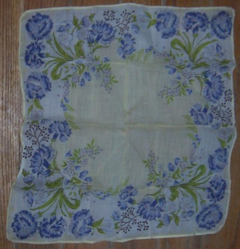 Vintage White Handkerchief with Printed Blue Flowers and Green Leaves
