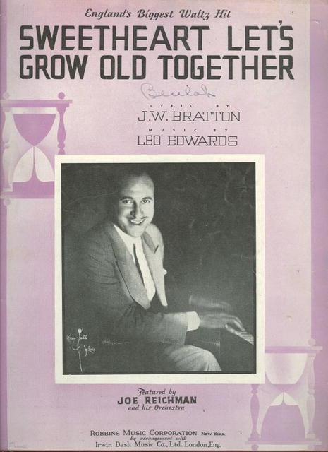 Sweetheart Let's Grow Old Together 1936 Sheet Music