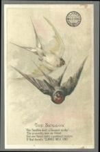 Victorian Trade Card for Clark's Mile End Spool Cotton with The Swallow