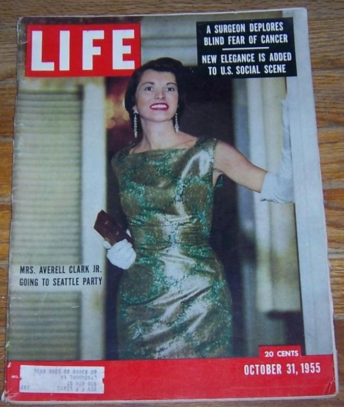 Life Magazine October 31, 1955 Mrs. Averell Clark, Jr. Going to Seattle Party