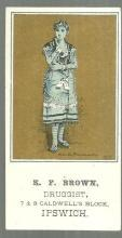 Victorian Trade Card for E. F. Brown Druggist Ipswich, MA w/Maude Branscombe