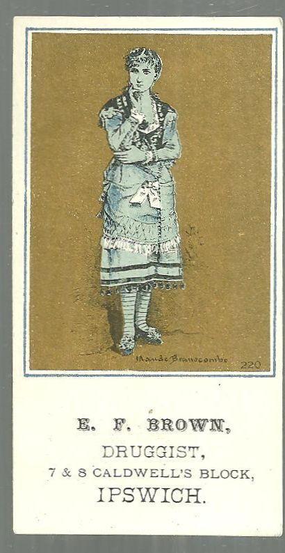Victorian Trade Card for E. F. Brown Druggist Ipswich, MA w/Maude Branscombe