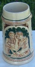 Vintage Green and Brown Ceramic German Beer Stein with Couple