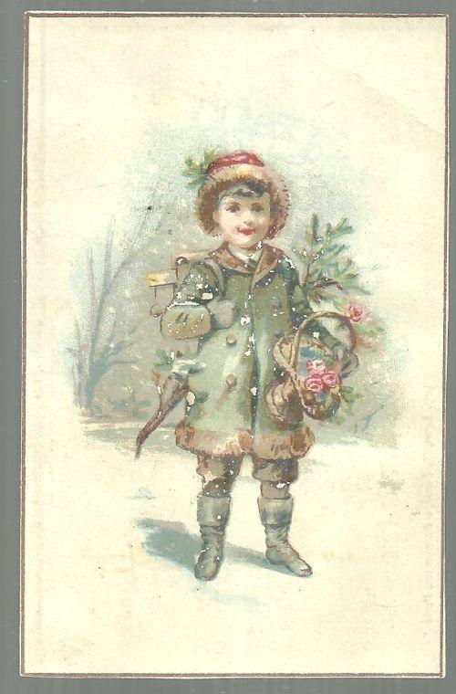 Victorian Trade Card for Mlle B. Ryckelynck, Abbeville With Boy Winter Dressed