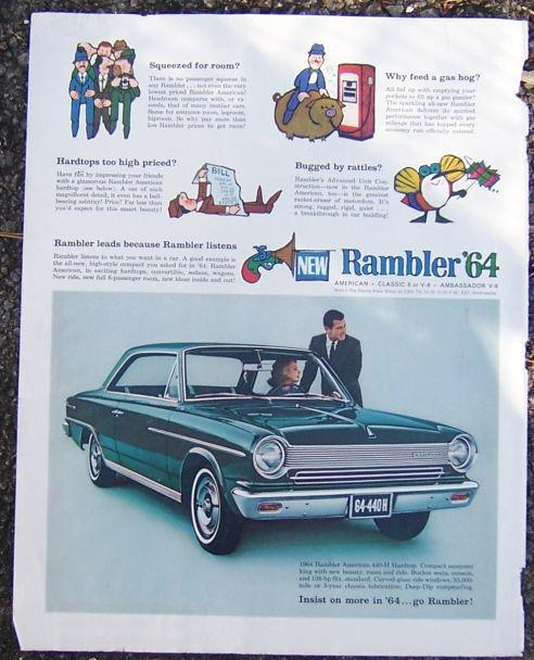1964 Rambler Saturday Evening Post Magazine Color Advertisement