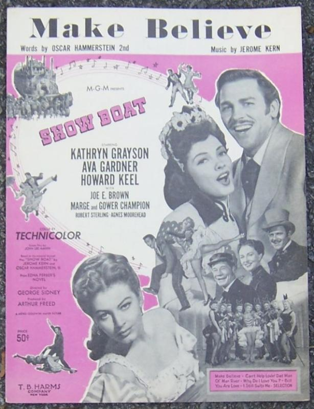Make Believe From Show Boat Starring Kathryn Grayson 1927 Sheet Music