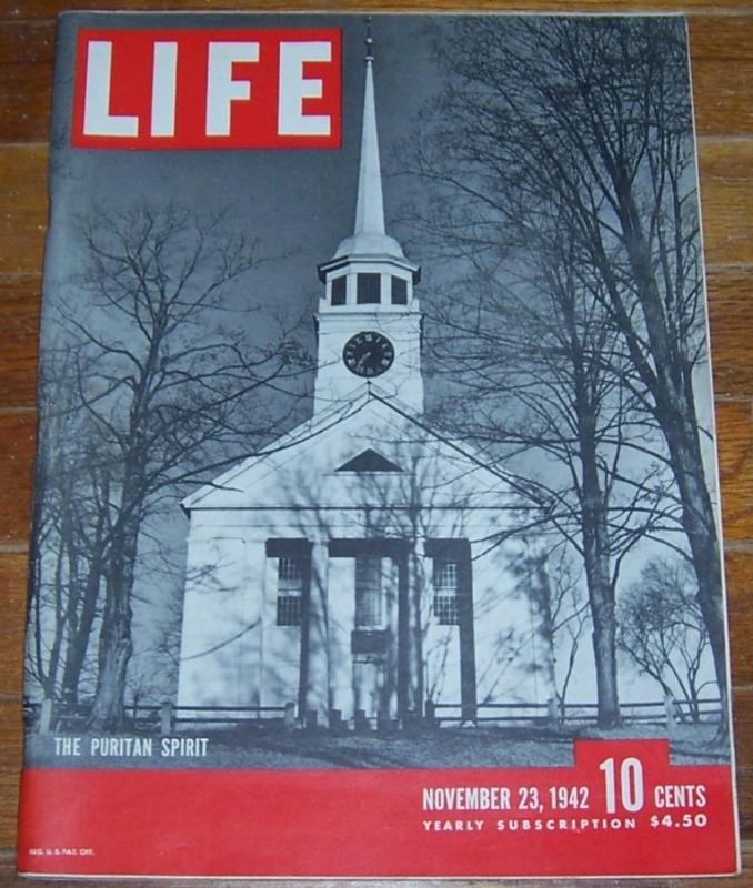 Life Magazine November 23, 1942 The Puritan Spirit on cover/Abner Dean/Midway