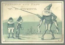 Victorian Trade Card for Parasols and Fans at W. H. Sweets with Clowns and Kids