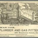 Victorian Trade Card Thomas Cox Plumber and Gas Fitter Jersey City with Monkey
