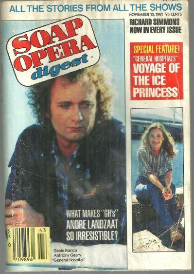 Soap Opera Digest Magazine November 10, 1981 Genie Francis and Anthony Geary GH