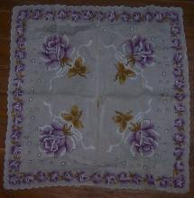 Vintage White Handkerchief with Printed Purple Roses