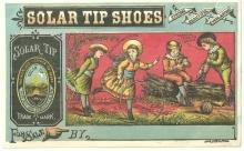 Victorian Trade Card for Solar Tip Shoes Boys and Girls Playing Outside