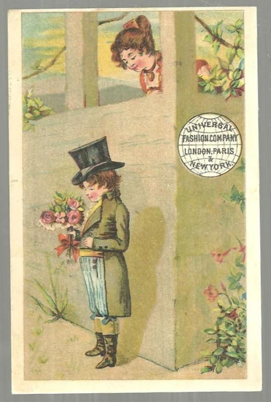 Victorian Trade Card for Universal Fashion Company with Boy Courting Lovely Girl