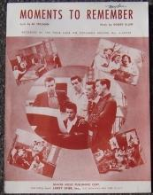 Moments to Remember Recorded by The Four Lads 1955 Sheet Music