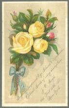 Victorian Trade Card Boyd's Improved Eye Glasses and Spectacles Yellow Roses