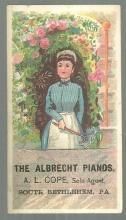Victorian Trade Card for Albrecht Pianos South Bethlehem, PA with Lovely Maid