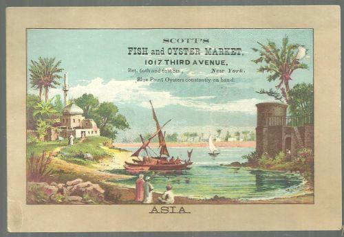 Victorian Trade Card for Scott's Fish and Oyster Market NYC with Asia Picture
