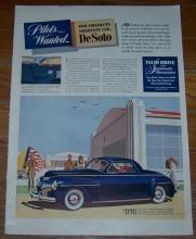 1941 De Soto Life Magazine WW II Color Advertisement Pilots Wanted