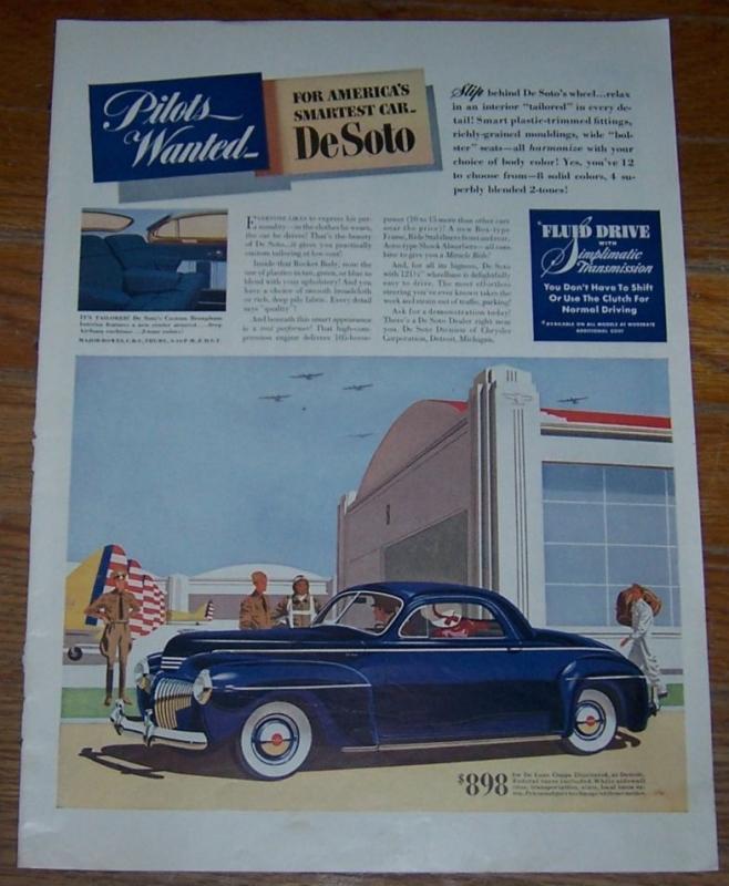 1941 De Soto Life Magazine WW II Color Advertisement Pilots Wanted