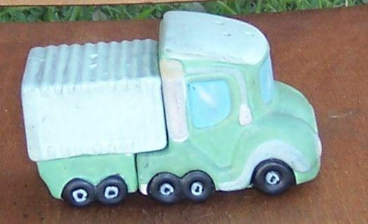 Vintage Green Truck Pottery Salt and Pepper Shakers