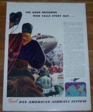 1941 Pan American Airways Life Magazine Color Advertisement Latin America