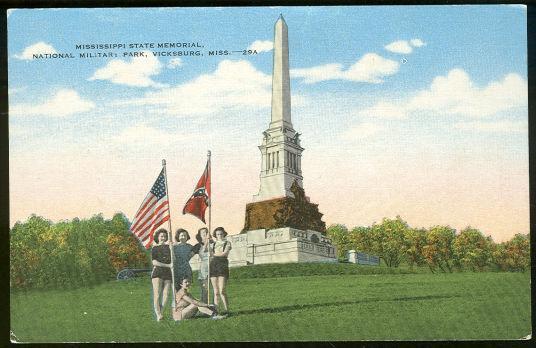Postcard of Lovely Ladies in Front of Mississippi State Memorial Vicksburg Mississippi