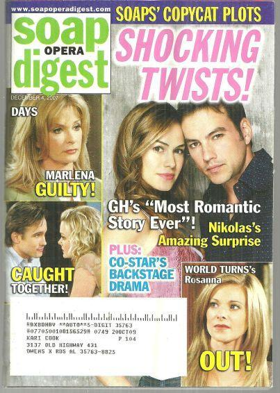 Soap Opera Digest December 4, 2007 Shocking Twists on the Cover