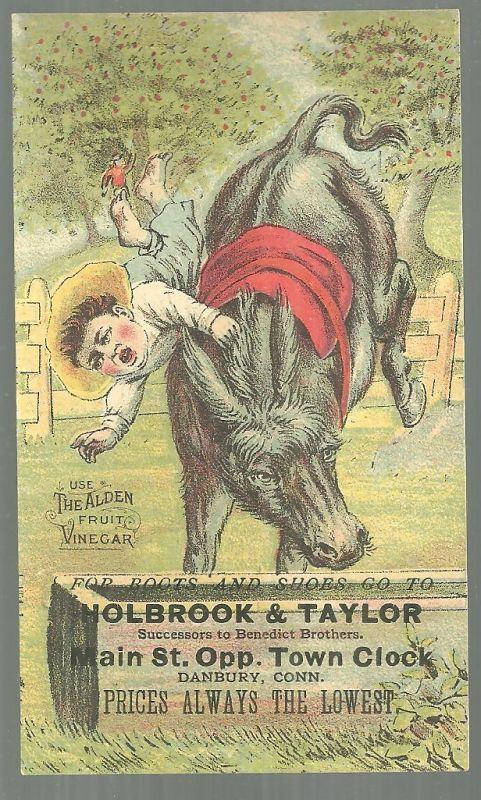 Victorian Trade Card Holbrook and Taylor Boots and Shoes with Boy and Horse