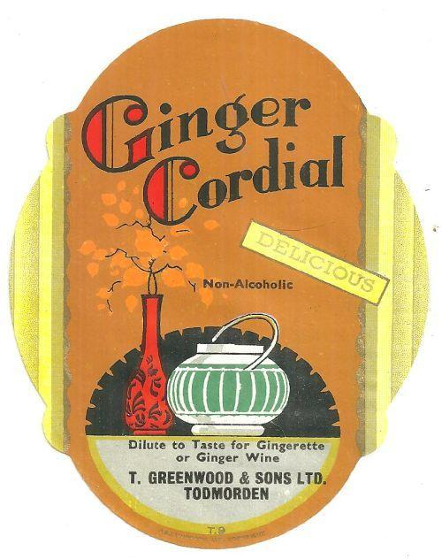Vintage Label for Ginger Cordial, T. Greenwood and Sons, Todmorden, England