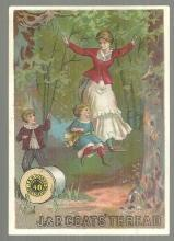 Victorian Trade Card for J. & P. Coats' Best Six Cord Thread Family on Swing